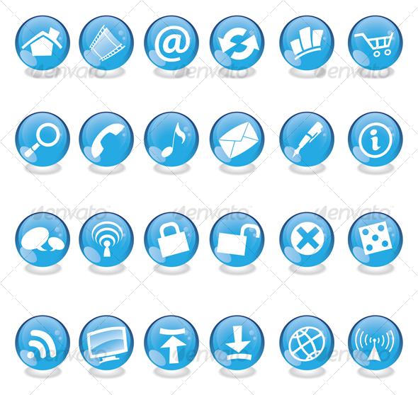 GraphicRiver blue glass web icons 53937