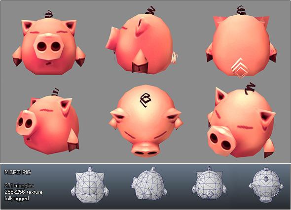 3DOcean Low Poly Micro Pig Melvin 168741