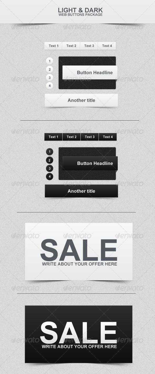 GraphicRiver Dark & Light Web Buttons 162990