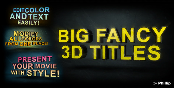 After Effects Project - VideoHive Big Fancy 3D Titles 1366207