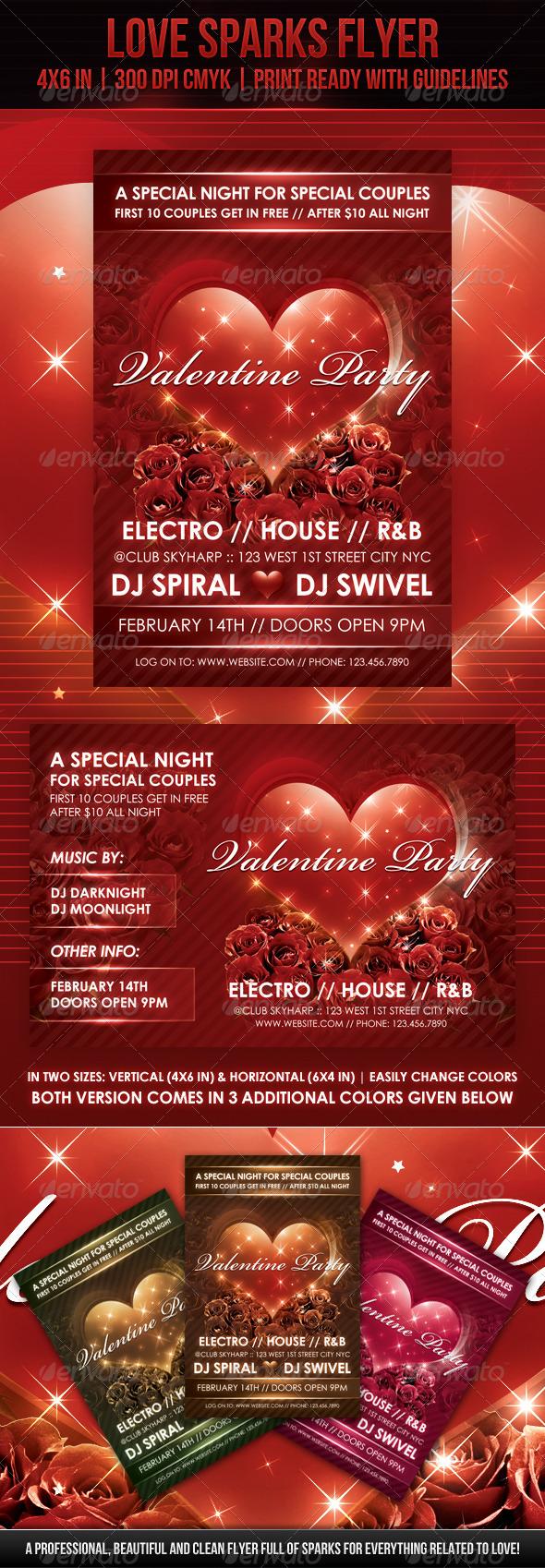 GraphicRiver Love Sparks Valentine Flyer 1369269