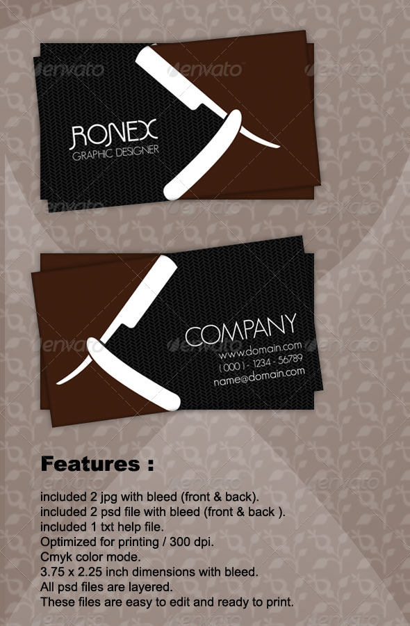 GraphicRiver Saloon Business Card 164230