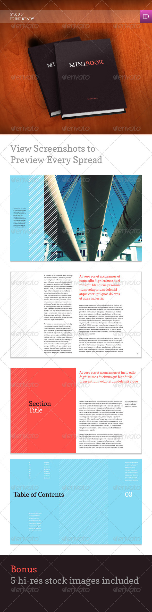 indesign templates for books - indesign graphicriver mini book 1376003