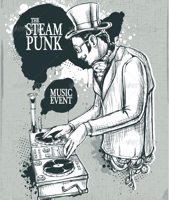 GraphicRiver Steampunk musical poster 164953
