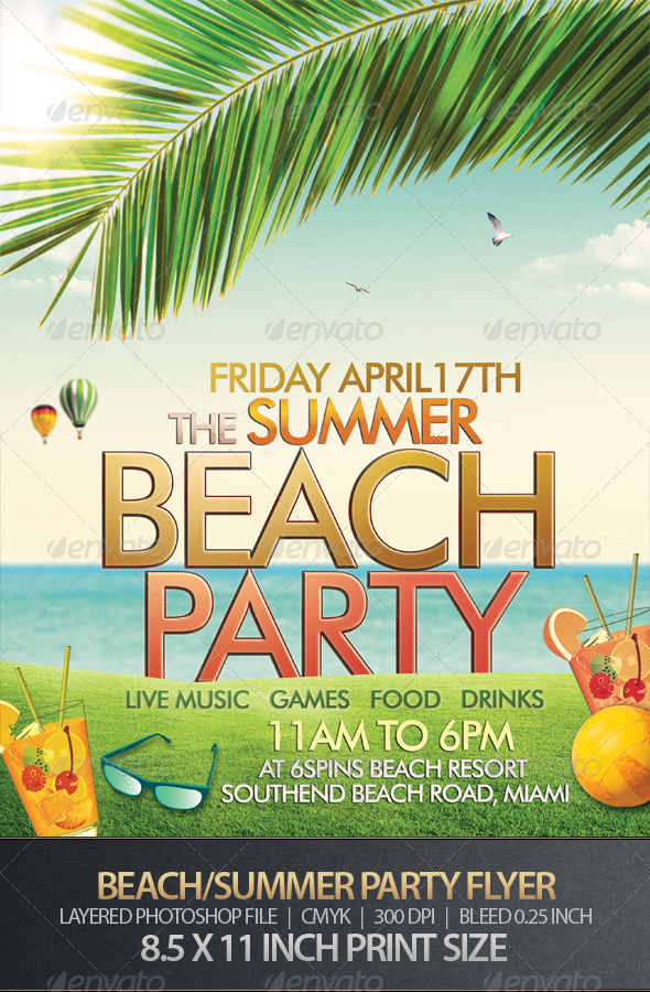 GraphicRiver Beach or Summer Party Flyer 163972