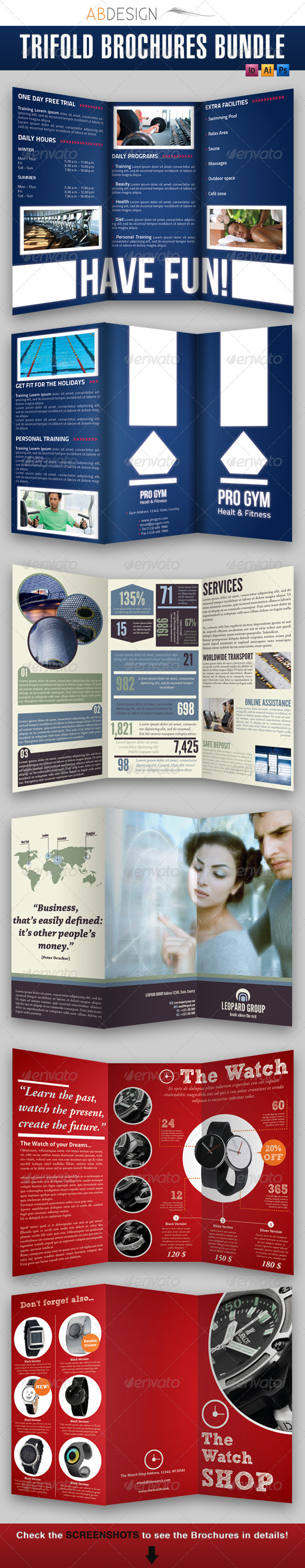 GraphicRiver Trifold Brochures Bundle 2 1392525