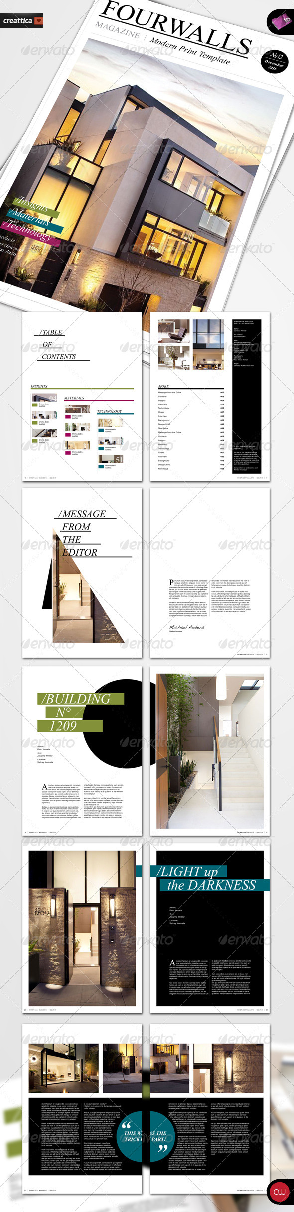 GraphicRiver Fourwalls Modern Print Template A4 1221178
