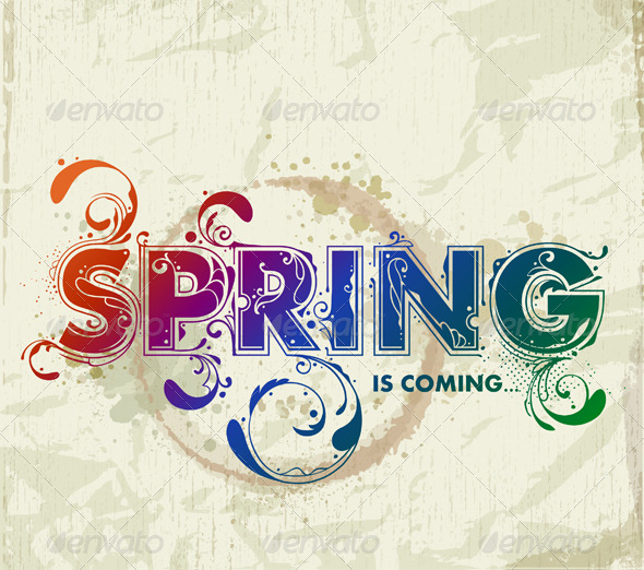 GraphicRiver Hand drawn spring lettering 166106