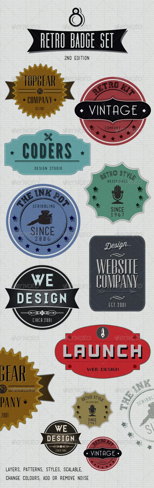 GraphicRiver Retro Badges Faded Vintage Labels V.2 1402787