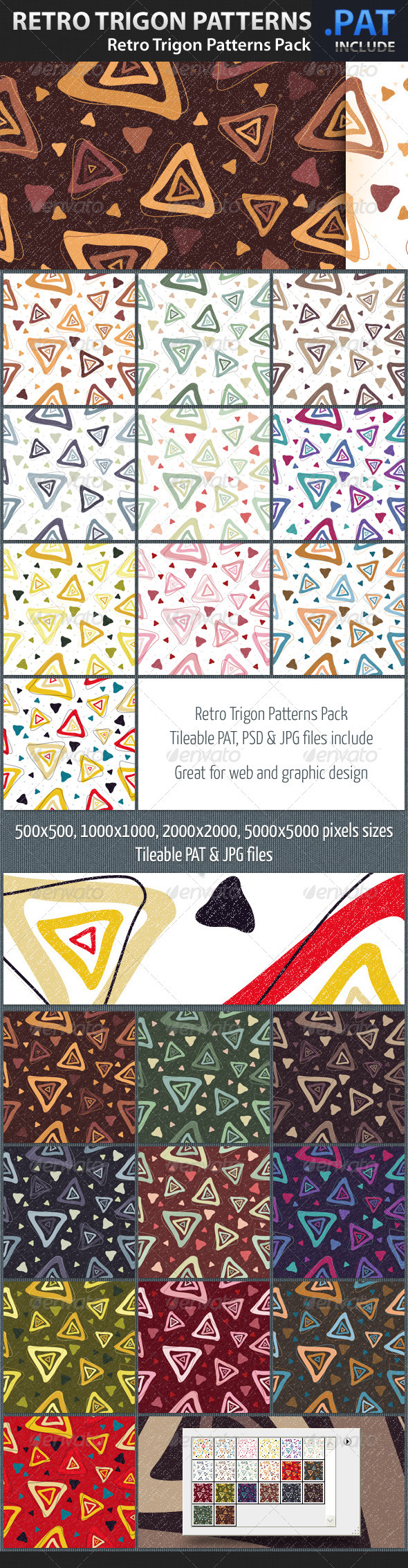 Graphic River Retro Trigon Patterns Pack Textures -  Art 1402796