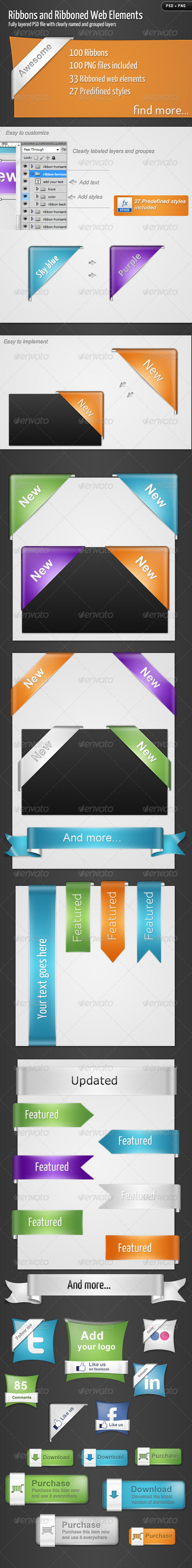 GraphicRiver Ribbons and Ribboned Web Elements 308007