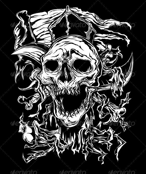 Graphic River Pirate Skull Vectors -  Tattoos 1410194