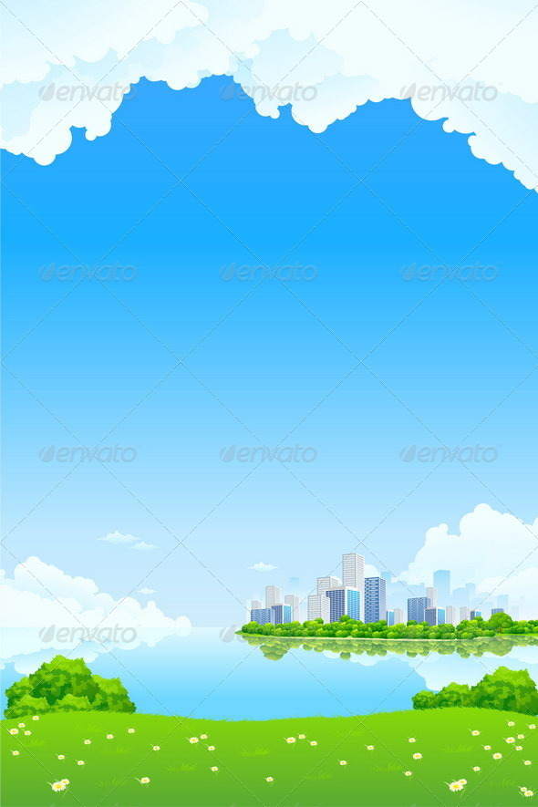 Graphic River Green Landscape with Lake and City Vectors -  Conceptual  Nature  Landscapes 1411098