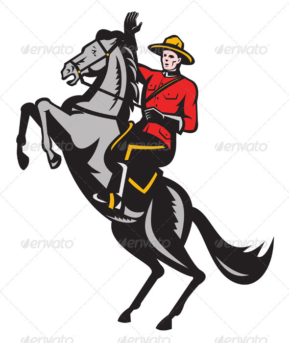 Graphic River Canadian Mounted Police Mountie Riding Horse Vectors -  Characters  People 1411117