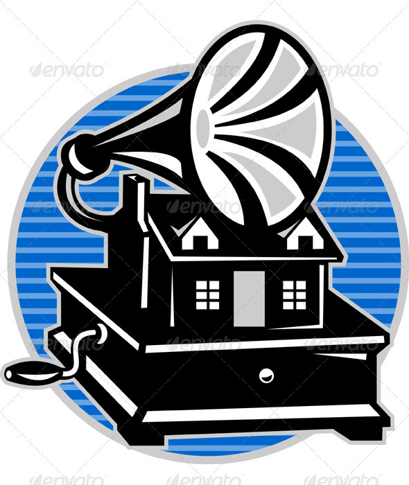 Graphic River Vintage Gramophone With Old House  Vectors -  Characters  People 1411118