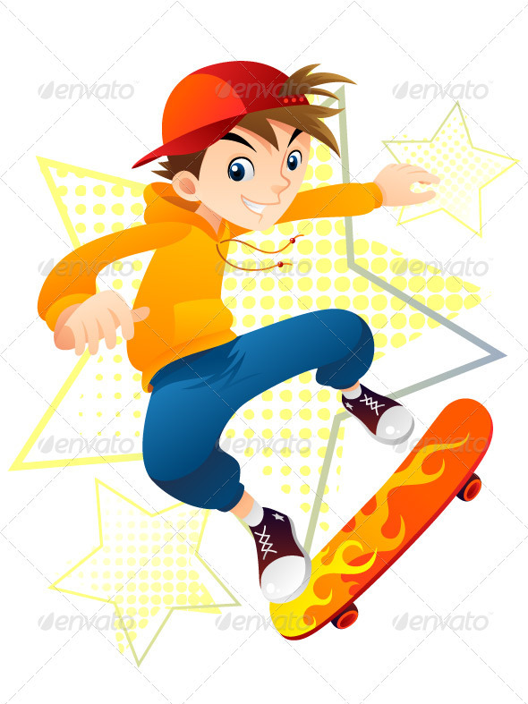 Graphic River Skater Boy Vectors -  Conceptual  Sports/Activity 1413778