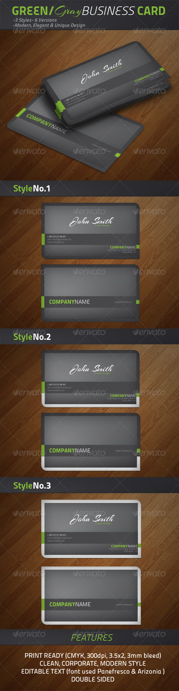 GraphicRiver Green Grey Modern Business Cards 1400159