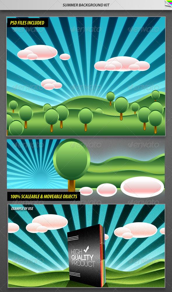 GraphicRiver Summer Background Kit 168545
