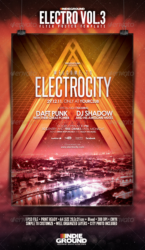 Graphic River Electro Flyer/Poster Vol 3 Print Templates -  Flyers  Events  Clubs & Parties 807613