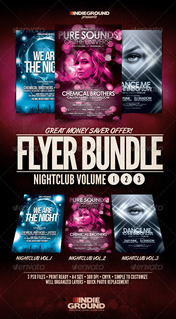 GraphicRiver Nightclub Flyer Poster Bundle Vol 1-3 242082