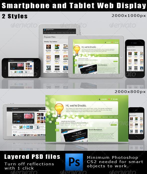 GraphicRiver Smartphone and Tablet Web Display Mockup 1428393
