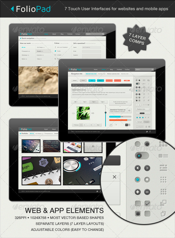 GraphicRiver FolioPad Touch Elements User Interface 1429518