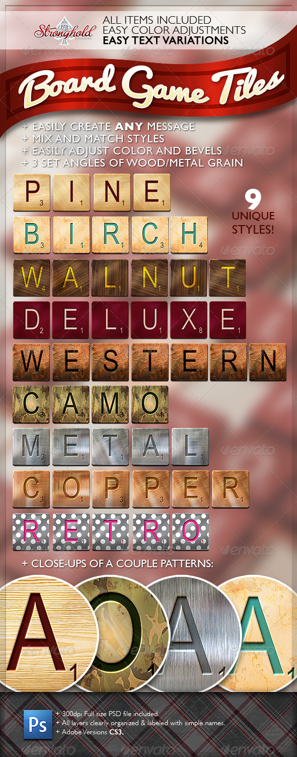 GraphicRiver Word Game Board Tiles Set 1432141