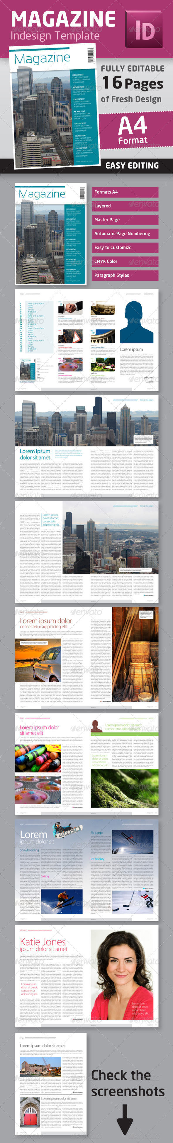 Graphic River Indesign Magazine Template in A4 Format Print Templates -  Magazines 1436727