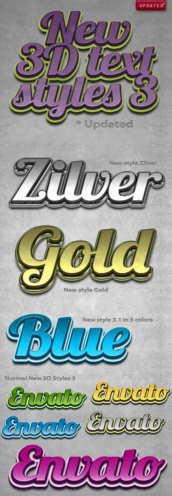 GraphicRiver New 3D Text Styles #3 155387