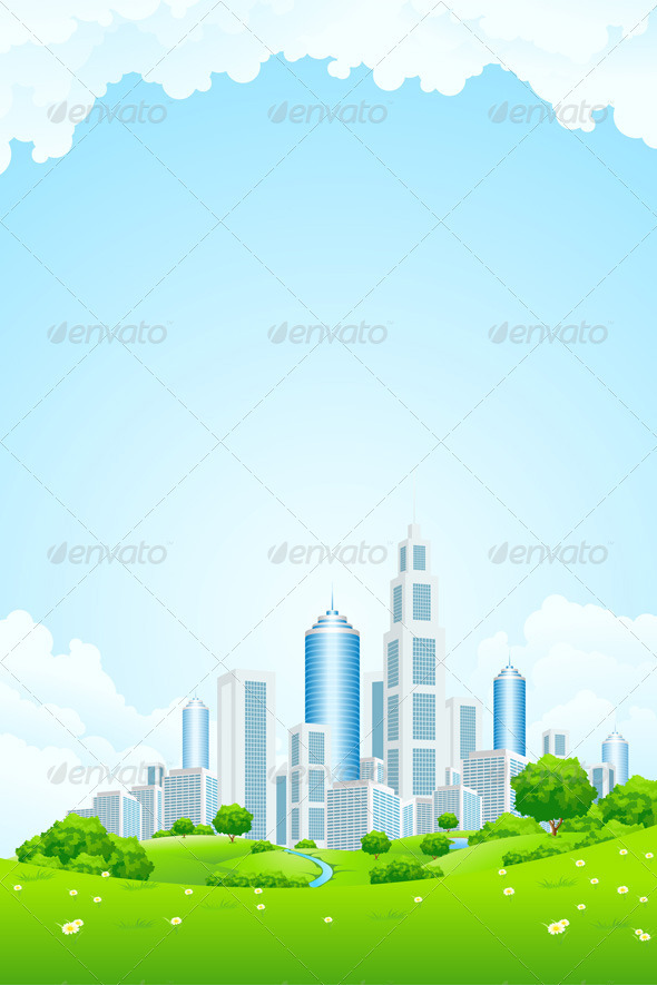 Graphic River City Landscape with Green Hills Vectors -  Conceptual  Nature  Landscapes 1440355