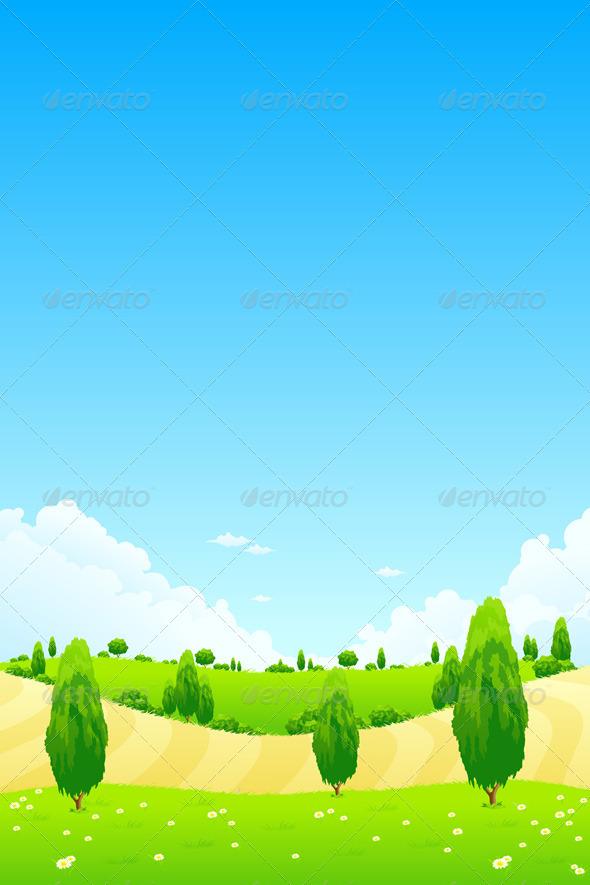 Graphic River Green Landscape with Trees Vectors -  Conceptual  Nature  Landscapes 1440356