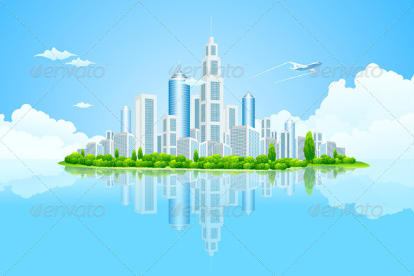 Graphic River City Landscape Island with Green Trees Vectors -  Conceptual  Business  Backgrounds 1440357