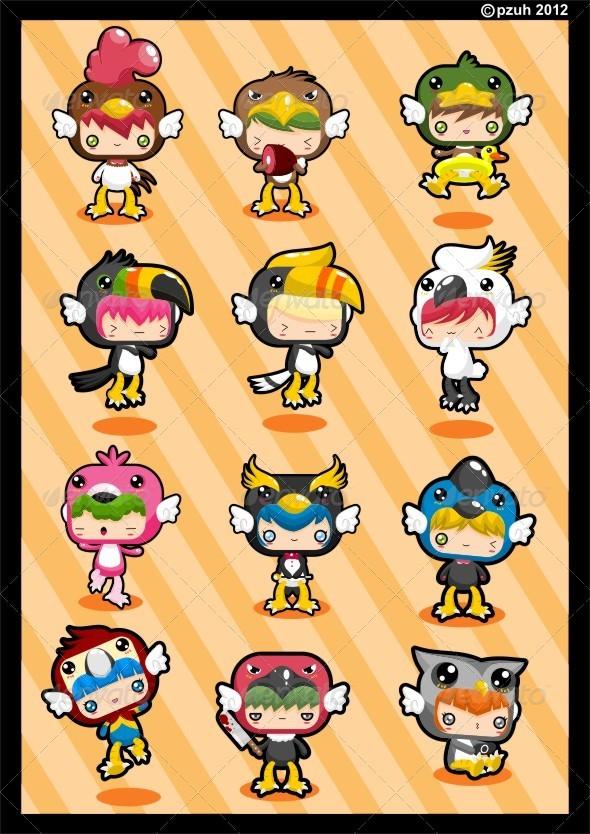 Graphic River Kawaii Costume Pack Birdie Vectors -  Characters 1440518