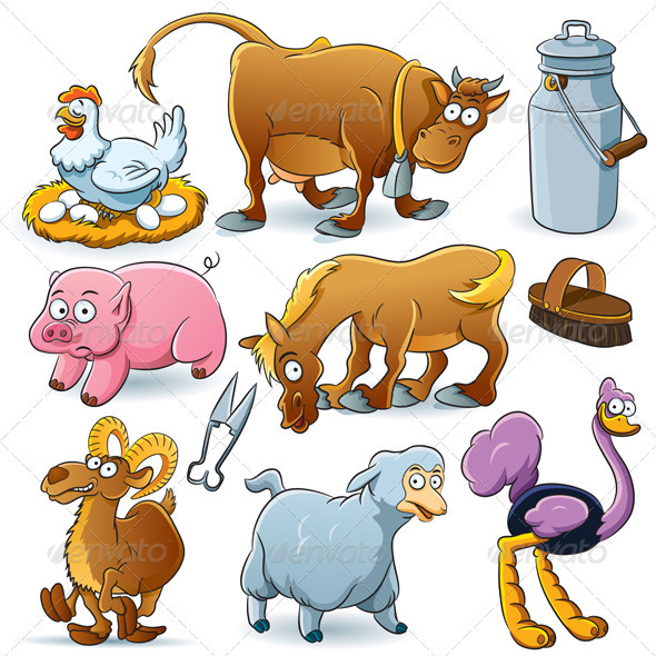Graphic River Farm Animals Collection Vectors -  Characters  Animals 1441774