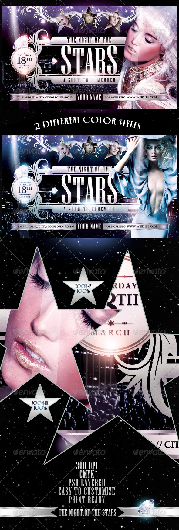 Graphic River The Night Of The Star Flyer Template Print Templates -  Flyers  Events  Clubs & Parties 1434027