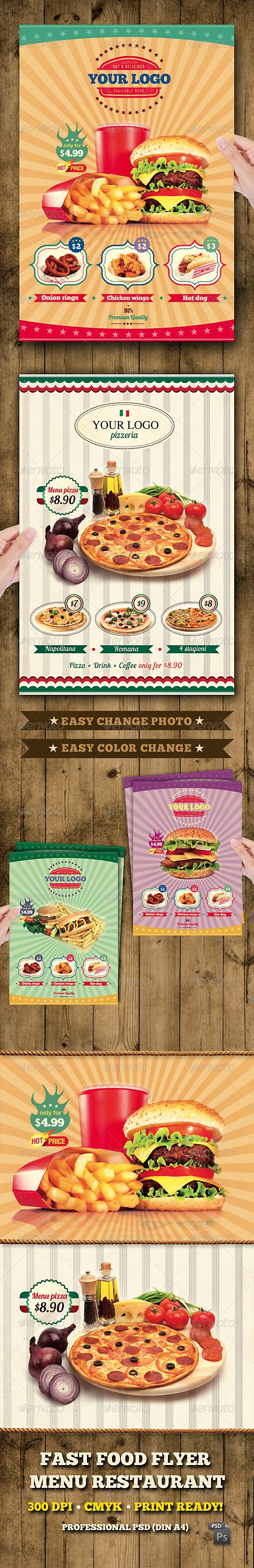 GraphicRiver Fast Food Flyer Menu Restaurant A4 1453596