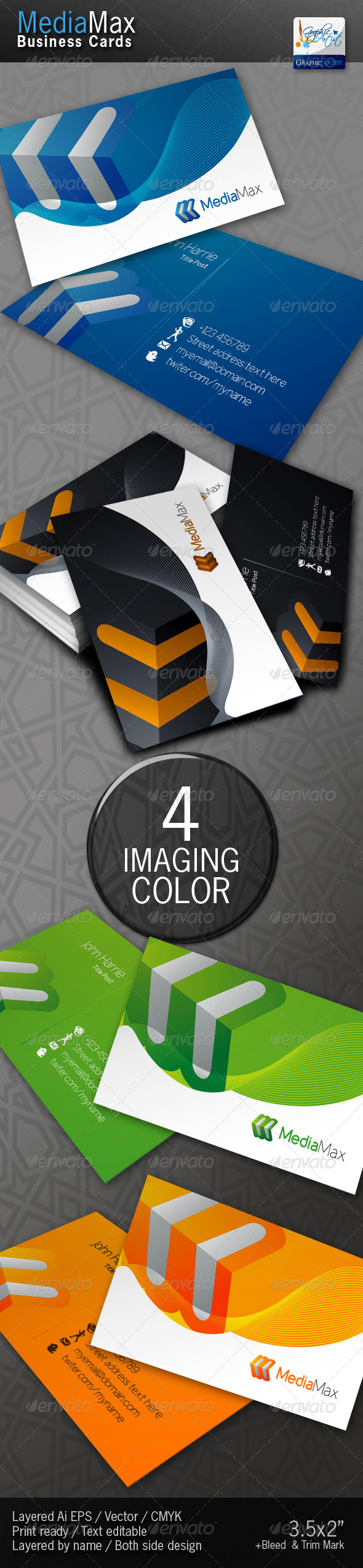 Graphic River MediaMax Business Cards Print Templates -  Business Cards  Corporate 1455621