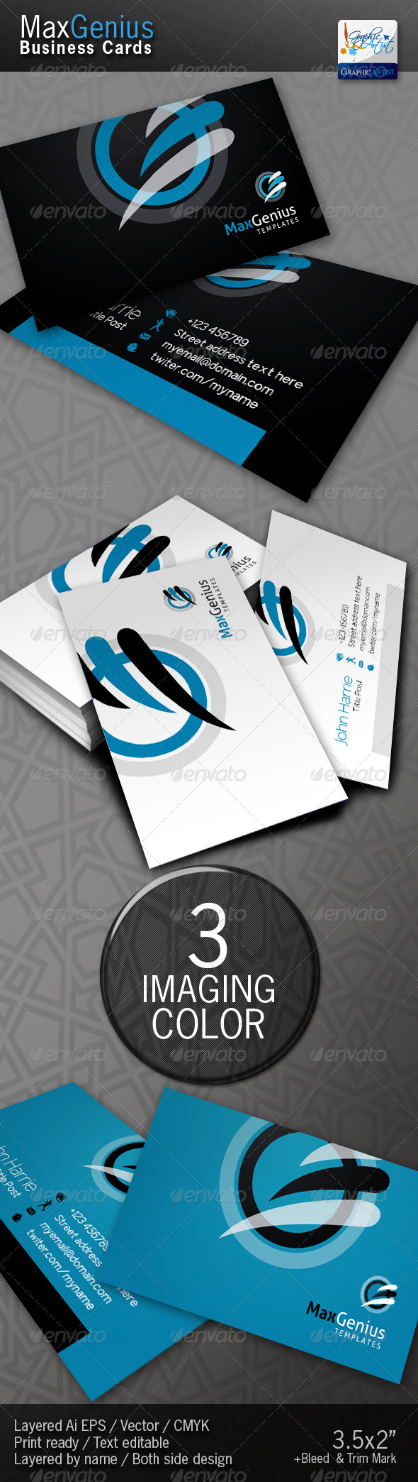 Graphic River MaxGenius Business Cards Print Templates -  Business Cards  Corporate 1455703