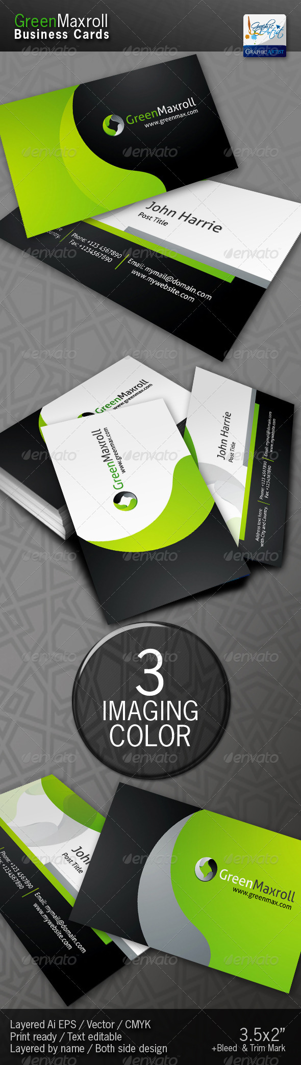 Graphic River GreenMaxroll Business Cards Print Templates -  Business Cards  Corporate 1455817