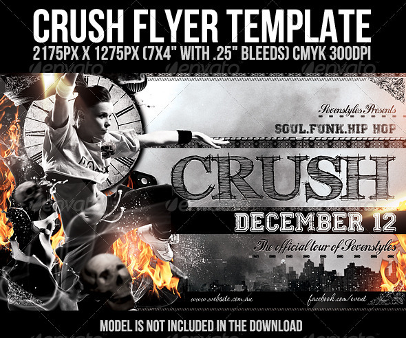 Graphic River Crush Flyer Template Print Templates -  Flyers  Events  Clubs & Parties 803863