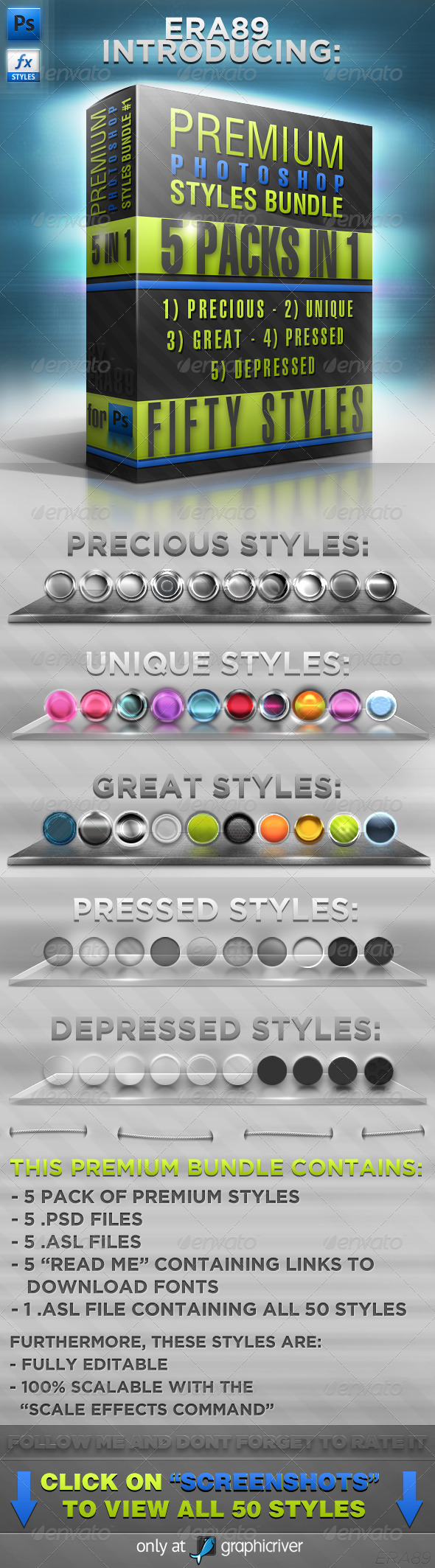 GraphicRiver Photoshop Styles BUNDLE #1 173112