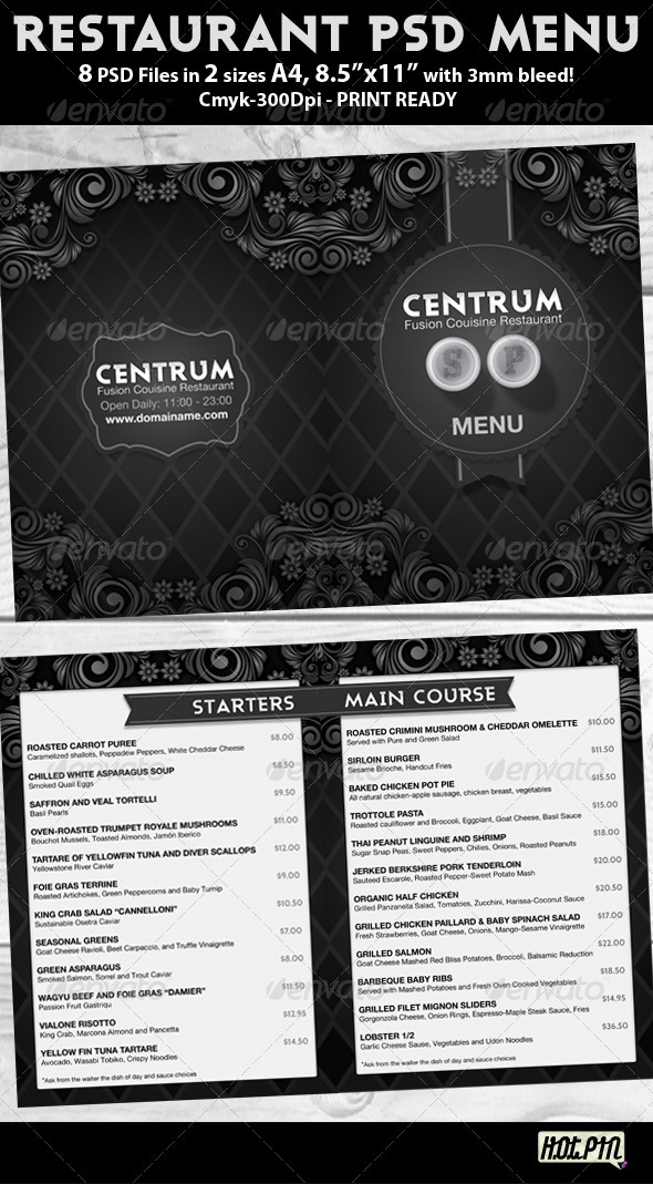 Graphic River Stylish Restaurant Psd Menu Template Print Templates -  Miscellaneous 1462331