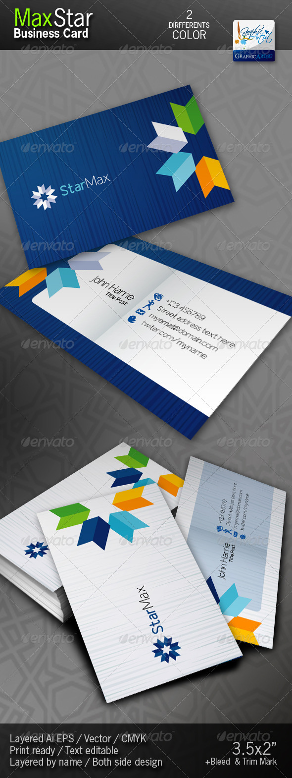 GraphicRiver StarMax Business Cards 1447400