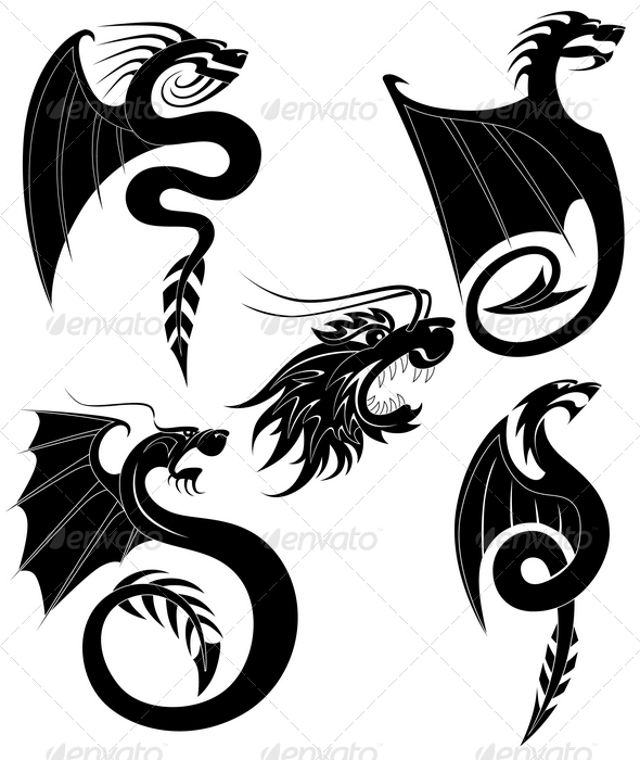 GraphicRiver Black dragons tattoo 1468629