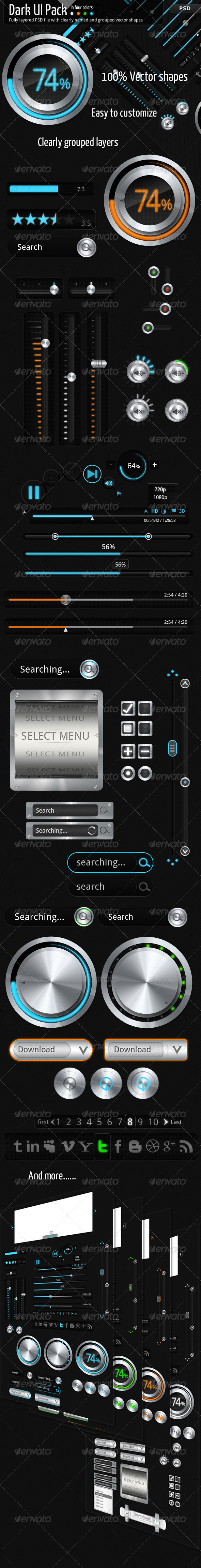 GraphicRiver Dark UI pack 1469002