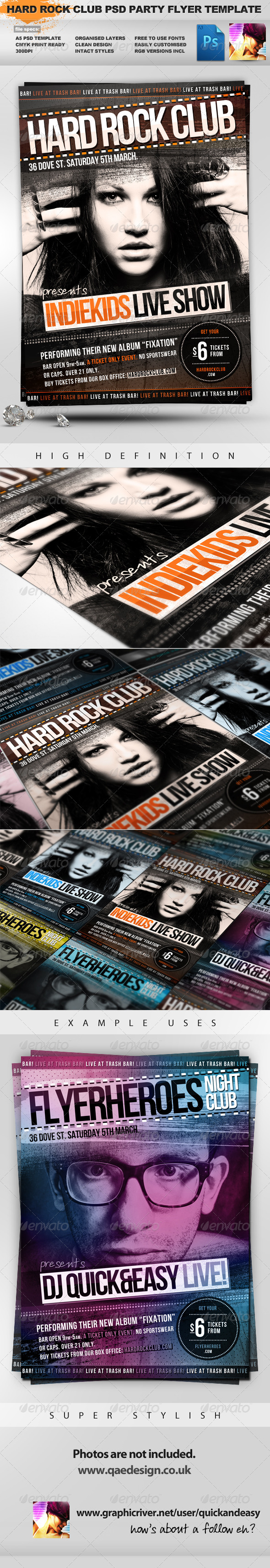 Graphic River Indiekids Hard Rock Indie Club PSD Party Flyer Print Templates -  Flyers  Events  Clubs & Parties 1470791