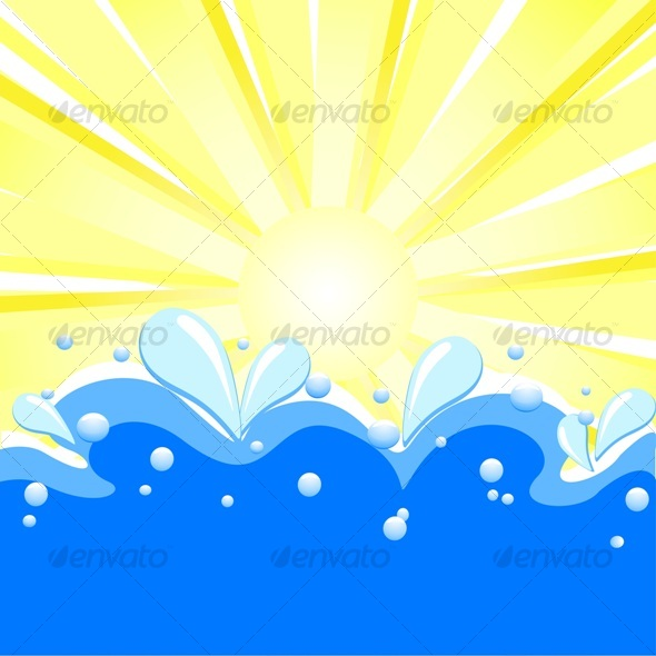GraphicRiver summer background with sun rays waves 58248