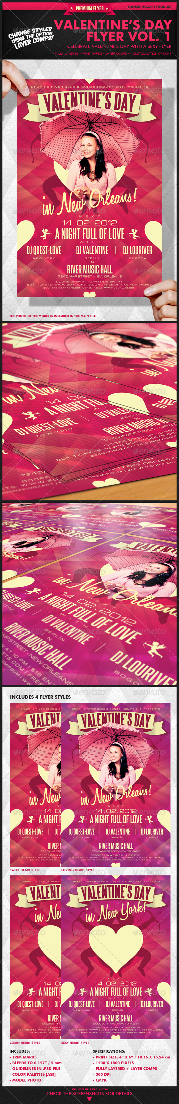 Graphic River Valentine s Day Flyer Vol 1 Print Templates -  Flyers  Events  Clubs & Parties 1474264
