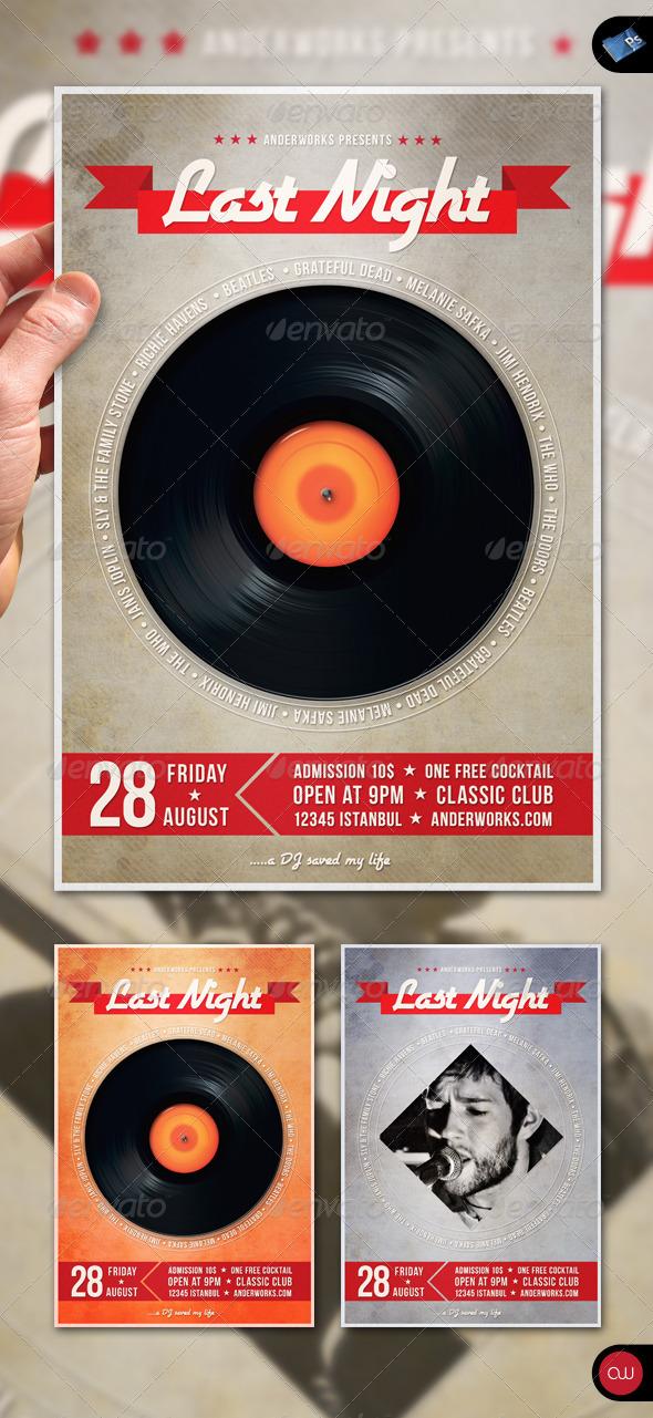 GraphicRiver Music Flyer Vol.2 Last Night a DJ Saved my Life 1458992