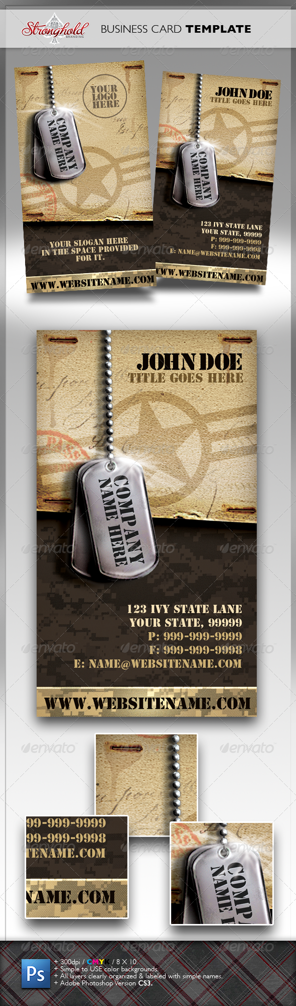 GraphicRiver Vintage Military Business Card 1457652